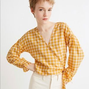 Madewell  Wrap Top in Gingham Check